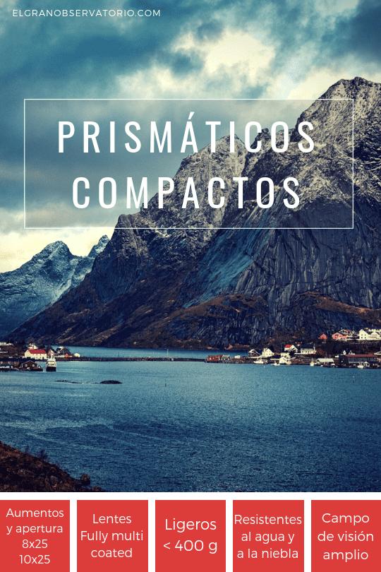 Los mejores prismáticos compactos pesan menos de 400 gramos.