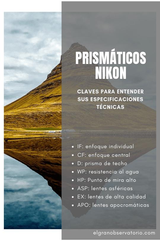 Los prismáticos Nikon suelen incluir siglas en sus especificaciones técnicas, aquí tienes una guía para entenderlas.