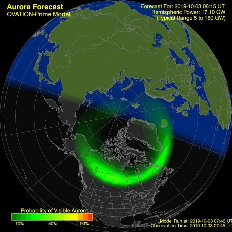 Debajo del ovalo auroral se ven las auroras boreales.
