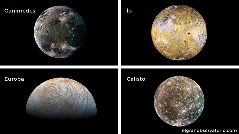 Ganímedes, Ío, Europa y Calisto son los satélites de Júpiter más fáciles de ver.