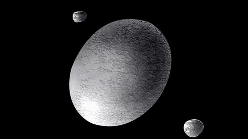 Haumea es el planeta enano que tiene forma alargada.