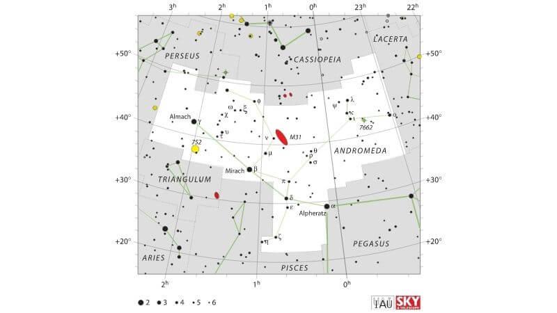 Fijarse en las constelaciones próximas a Andrómeda (Casiopea y Pegaso) hace que sea más fácil localizarla.