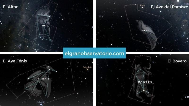 Constelaciones de El altar, El ave del Paraiso, El Ave Fénix y El Boyero.