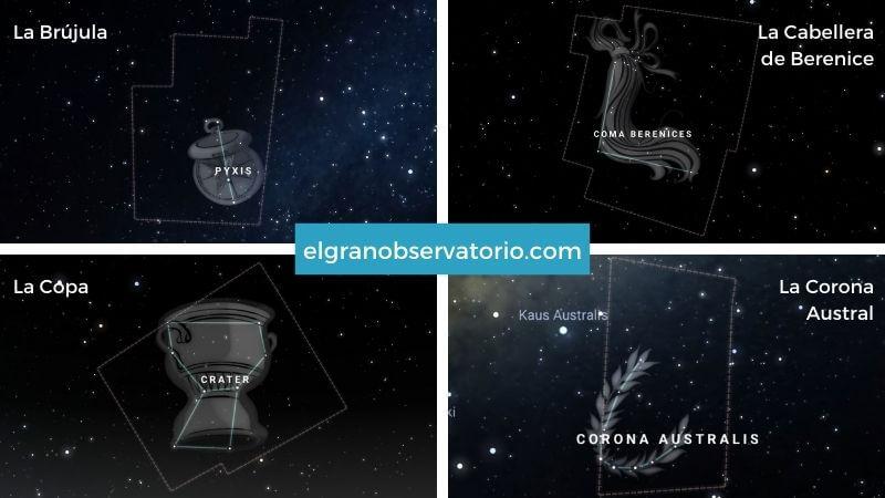 Constelaciones de La Brújula, La Cabellera Berenice, La Copa y La Corona Austral.