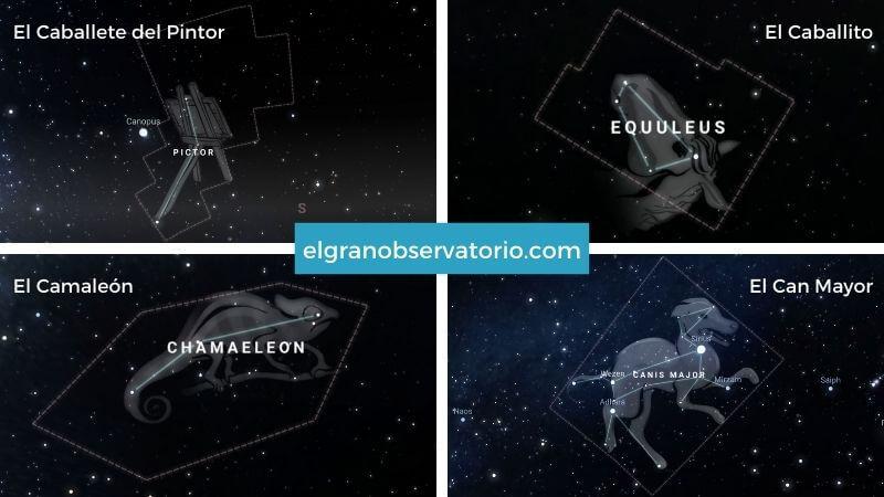 Constelaciones de El caballete del Pintor, El Caballito, El Camaleón y El Can Mayor.