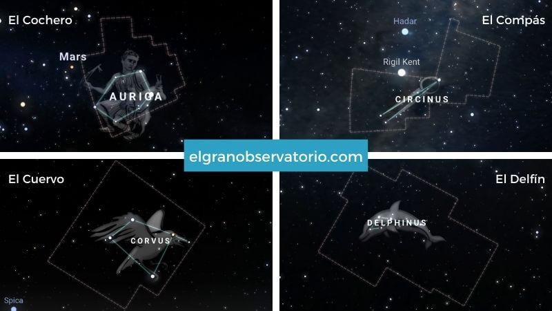 Constelaciones de El Cochero, El Compás, El Cuervo y El Delfín.