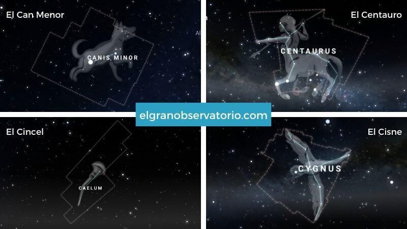 Constelaciones del Can Menor, El Centauro, El Cincel y el Cisne.