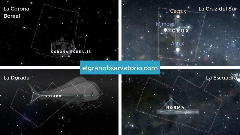 Constelaciones de La Corona Boreal, La Cruz del Sur, La Dorada y La Escuadra.
