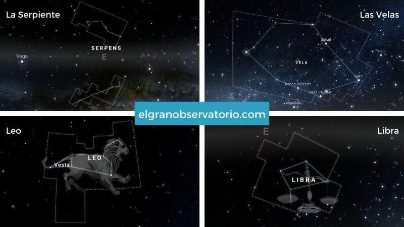 Constelaciones de Leo, Libra, La Serpiente y Las Velas.