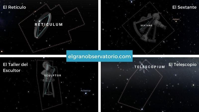 Constelaciones de El Reticulo, El Sextante, El Taller del Escultor y El Telescopio.