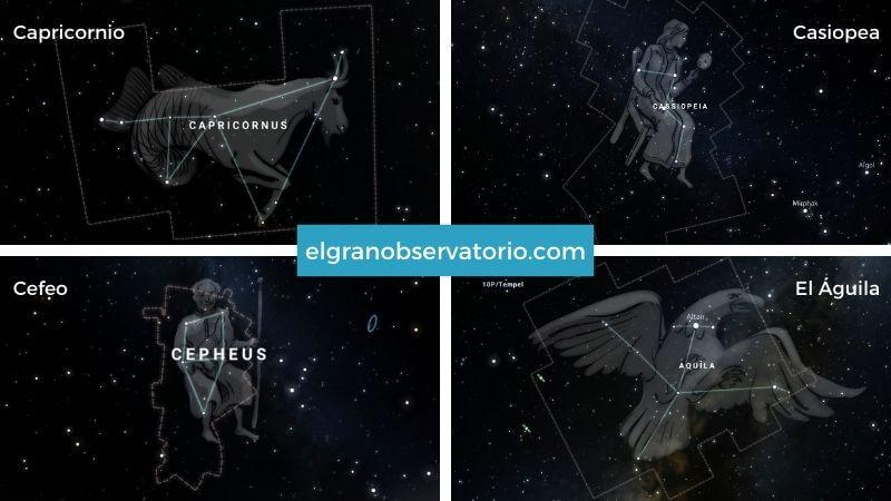 Constelaciones de Capricornio, Casiopea, Cefeo y Águila.
