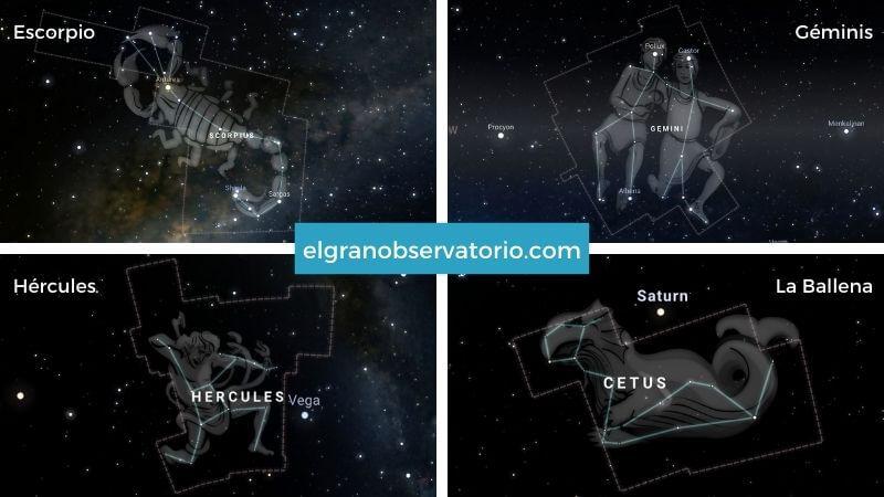 Constelaciones de Escorpio, Géminis, Hércules y La Ballena.