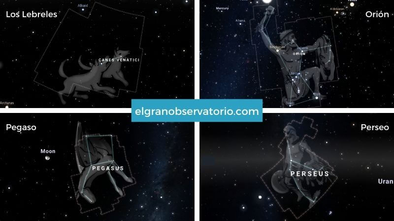Constelaciones de Orión, Pegaso, Perseo y Los Lebreles.