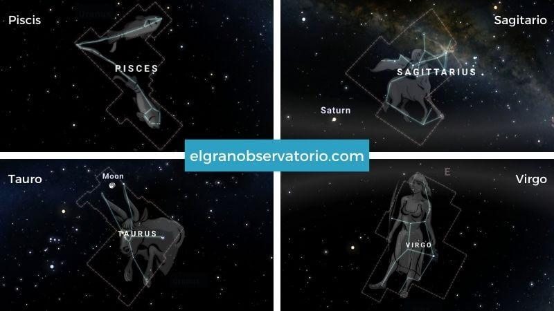Constelaciones de Piscis, Sagitario, Tauro y Virgo.
