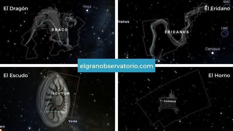 Constelaciones de El Dragón, El Eridano, El Escudo y El Horno.