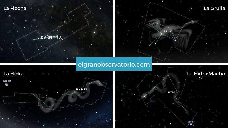 Constelaciones de La Flecha, La Grulla, La Hidra y La Hidra Macho.