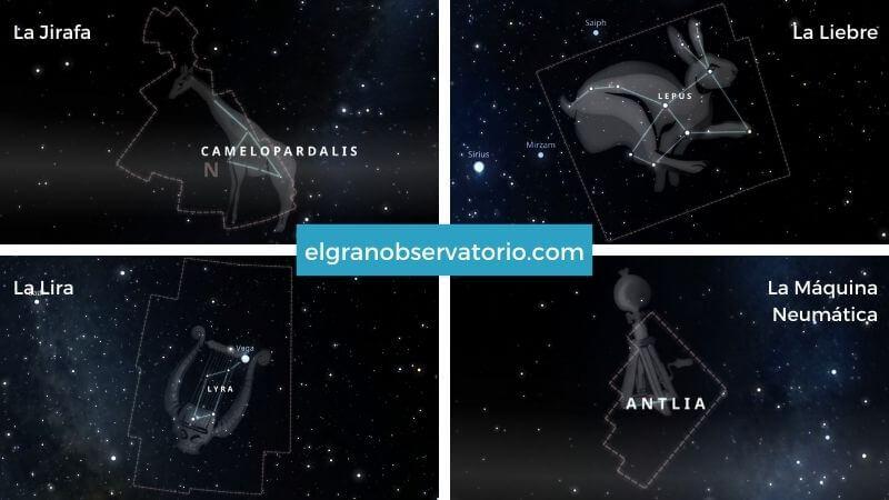 Constelaciones de La Jirafa, La Liebre, La Lira, La Máquina Neumática.
