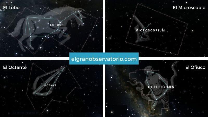 Constelaciones de El Lobo, El Microscopio, El Octante y El Ofiuco.