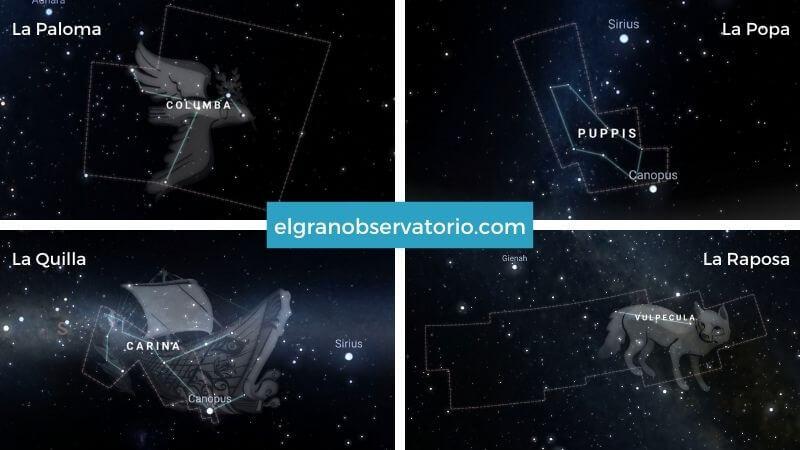 Constelaciones de La paloma, La Popa , La Quilla y La Raposa.