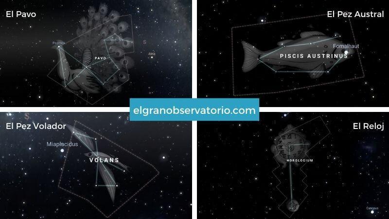 Constelaciones de El Pavo, El Pez Austral, El Pez Volador y El Reloj.
